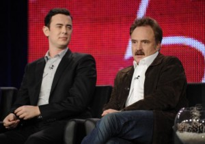 Colin Hanks and Bradley Whitford on stage talking about their new show, Code 58. / FOX