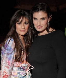 Lea Michele and Idina Menzel at the Glee spring premiere