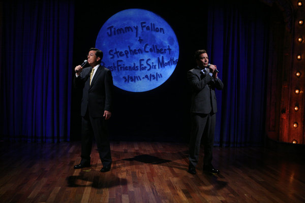"Jimmy Fallon and Stephen Colbert sing ""Somewhere Out There"" duet"