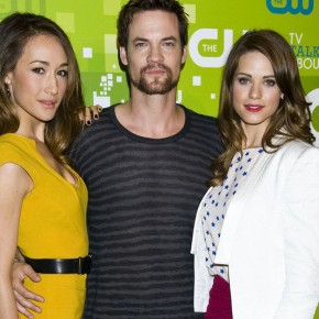 Maggie Q, Shane West, and Lyndsy Fonseca attend the 2011 CW Network Upfronts at Jazz at Lincoln Center in NYC.