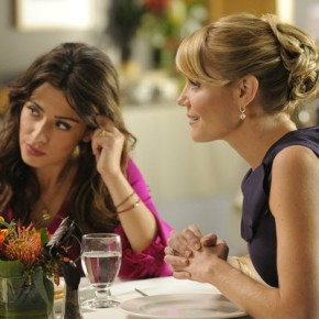 "FAIRLY LEGAL -- ""Satisfaction"" Episode 201 -- Pictured: (l-r) Mark Moses as Robert Mahoney, Sarah Shahi as Kate Reed, Virginia Williams as Lauren Reed"