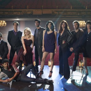 SMASH -- Season:1 -- Pictured: (l-r) Brian d'Arcy James as Frank Houston, Jaime Cepero as Ellis, Christian Borle as Tom Levitt, Megan Hilty as Ivy Lynn, Raza Jaffrey as Dev Sundaram, Katharine McPhee as Karen Cartwright, Debra Messing as Julia Houston, Jack Davenport as Derek Wills, Anjelica Huston as Eileen Rand