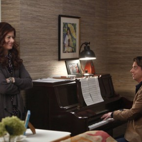 "SMASH -- ""Let's Be Bad"" Episode 105 -- Pictured: (l-r) Debra Messing as Julia Houston, Christian Borle as Tom Levitt"