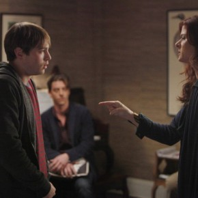"SMASH -- ""Let's Be Bad"" Episode 105 -- Pictured: (l-r) Emory Cohen as Leo Houston, Christian Borle as Tom Levitt, Debra Messing as Julia Houston"