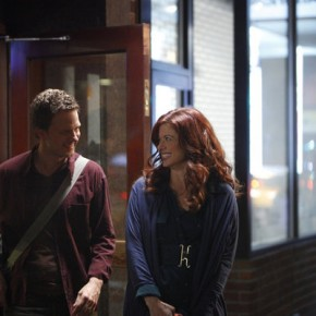 "SMASH -- ""Let's Be Bad"" Episode 105 -- Pictured: (l-r) Will Chase as Michael Swift, Debra Messing as Julia Houston"