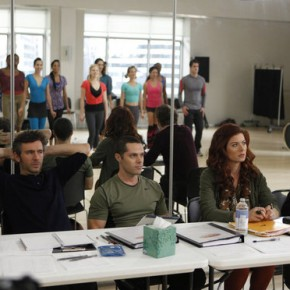 "SMASH -- ""Let's Be Bad"" Episode 105 -- Pictured: (l-r) Ann Harada as Linda, Jack Davenport as Derek Wills, Joshua Bergasse as Josh, Debra Messing as Julia Houston, Christian Borle as Tom Levitt"