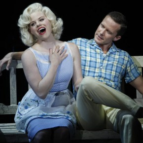 "SMASH -- ""Mr. DiMaggio"" Episode 103 -- Pictured: (l-r) Megan Hilty as Ivy Lynn (as Marilyn Monroe), Will Chase as Michael Swift (as Joe DiMaggio)"