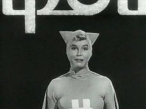 "Moore in her first television role as ""Happy Hotpoint"" the elf"