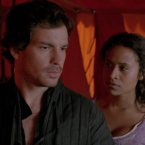 Lancelot (Santiago Cabrera) and Gwen in his empty tent