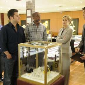 "PSYCH -- Episode 609 ""True Grits"" -- Pictured: (l-r) Anthony Anderson as Thane, James Roday as Shawn Spencer, Dule Hill as Gus Guster, Maggie Lawson as Juliet, Timothy Omundson as Lassiter"