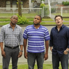PSYCH -- Episode 609 &quot;True Grits&quot; -- Pictured: (l-r) Dule Hill as Gus Guster, Anthony Anderson as Thane, James Roday as Shawn Spencer