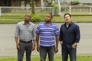 "PSYCH -- Episode 609 ""True Grits"" -- Pictured: (l-r) Dule Hill as Gus Guster, Anthony Anderson as Thane, James Roday as Shawn Spencer"