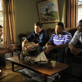 "PSYCH -- Episode 609 ""True Grits"" -- Pictured: (l-r) Stoney Jackson as Fred Dozier, James Roday as Shawn Spencer, Anthony Anderson as Thane, Dule Hill as Gus Guster"