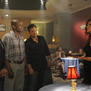 "PSYCH -- ""Santabarbara Town"" -- Pictured: (l-r) Corbin Bernsen as Henry, Dule Hill as Gus Guster, James Roday as Shawn Spencer, Lolita Davidovich as Ida Lane"
