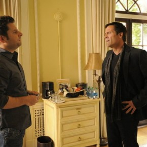 "PSYCH -- ""Santabarbara Town"" -- Pictured: (l-r) James Roday as Shawn Spencer, Rob Estes as Jordon Beaumont"