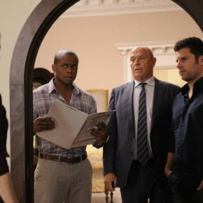"PSYCH -- ""Santabarbara Town"" -- Pictured: (l-r) Dule Hill as Gus Guster, Corbin Bernsen as Henry, James Roday as Shawn Spencer"