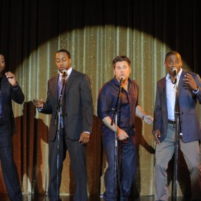 "PSYCH -- Episode 614 ""Let's Do-Wop It Again"" -- Pictured: Mekhi Phifer as Drake, Jaleel White as Tony, James Roday as Shawn Spencer, Dule Hill as Gus Guster"