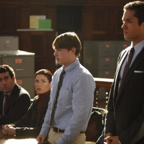 "SMASH -- ""The Coup"" Episode 108 -- Pictured: (l-r) -- Brian d'Ary James as Frank Houston, Debra Messing as Julia Houston, Emory Cohen as Leo Houston, Neal Bledsoe as John Goodwin"