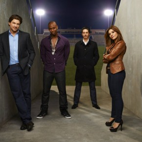 NECESSARY ROUGHNESS -- Season: 2 - Marc Blucas as Matthew Donnally, Mehcad Brooks as Terrence King, Scott Cohen as Nico, Callie Thorne as Dani Santino