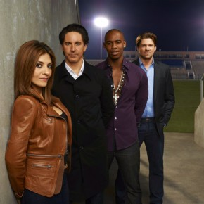 NECESSARY ROUGHNESS -- Season: 2 - Callie Thorne as Dani Santino, Scott Cohen as Nico, Mehcad Brooks as Terrence King, Marc Blucas as Matthew Donnally