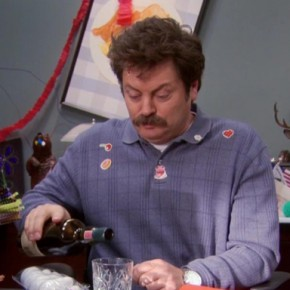Parks & Recreation S05E11 - Women in Garbage_Ron Drinks