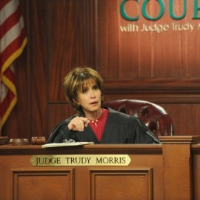 Judy Trudy presides over her courtroom set