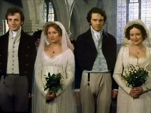 "Mr. Bingley and Jane Bennet; Mr. Darcy and Elizabeth Bennet, from ""Pride & Prejudice"""