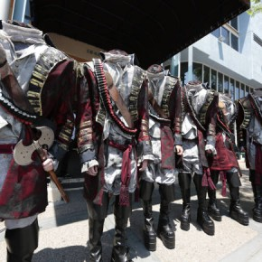 "Fox's ""Sleepy Hollow's"" Headless Horsemen invaded the streets of San Diego in their ""Keep Calm and Don't Lose Your Head"" promo. Photo: Fox"