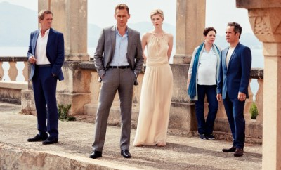 Tom Hiddleston as Jonathan Pine, Tom Hollander as Major Corkoran, Elizabeth Debicki as Jed Marshall, Olivia Colman as Angela Burr, and Hugh Laurie as Richard Roper - The Night Manager _ Season 1, Gallery - Photo Credit: Mitch Jenkins/The Ink Factory/AMC