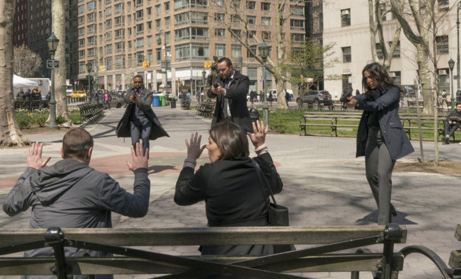 "BLINDSPOT -- ""If Love A Rebel, Death Will Render"" Episode 122 --  Pictured: (l-r) Rob Brown as Edgar Reed, Sullivan Stapleton as Kurt Weller, Audrey Esparza as Tasha Zapata -- (Photo by: Barbara Nitke/NBC)"