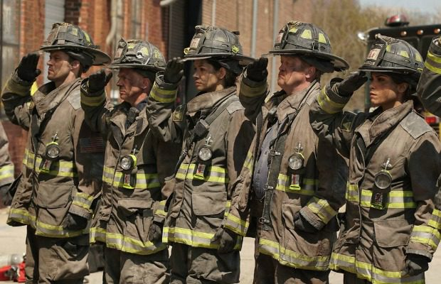 """CHICAGO FIRE -- """"Where the Collapse Started"""" Episode 422 -- Pictured: (l-r) Jesse Spencer as Lt. Matthew Casey, David Eigenberg as Christopher Herrmann, Mirana Rae Mayo as Stella Kidd, Christian Stolte as Randy """"Mouch"""" McHolland, Monica Raymund as Gabriella Dawson -- (Photo by: Elizabeth Morris/NBC)"""