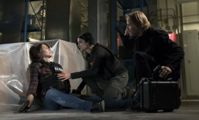 "BLINDSPOT--  ""Condone Untidiest Thefts"" Episode 205 -- Pictured: (l-r) Trieste Kelly Dunn as Allison Knight, Jaimie Alexander as Jane Doe, Chris Kies as Michael Murphy -- (Photo by: Peter Kramer/NBC)"