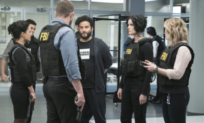 "BLINDSPOT -- ""Resolves Eleven Myths"" Episode 207 -- Pictured: (l-r) Archie Panjabi as Nas Kamal, Sullivan Stapleton as Kurt Weller, Ennis Esmer as RichDot Com, Jaimie Alexander as Jane Doe, Ashley Johnson as Patterson -- (Photo by: Virginia Sherwood/NBC)"