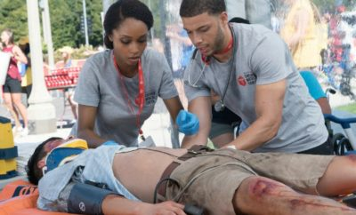 """CHICAGO MED -- """"Extreme Measures"""" Episode 205 -- Pictured: (l-r) Yaya DaCosta as April Sexton, Roland Buck III as Noah Sexton -- (Photo by: Elizabeth Sisson/NBC)"""