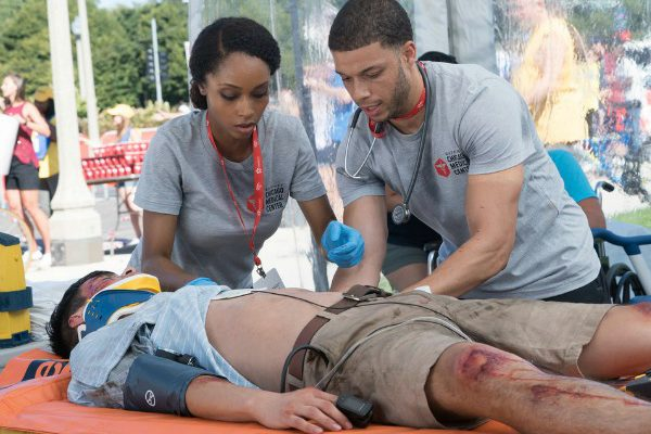"CHICAGO MED -- ""Extreme Measures"" Episode 205 -- Pictured: (l-r) Yaya DaCosta as April Sexton, Roland Buck III as Noah Sexton -- (Photo by: Elizabeth Sisson/NBC)"