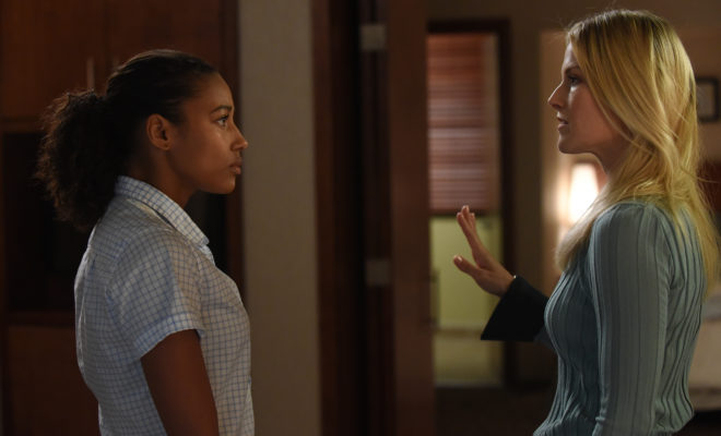 "PITCH: L-R: Kylie Bunbury and Ali Larter in the all-new ""The Break"" episode of PITCH airing Thursday, Oct. 13 (8:59-10:00 PM ET/PT) on FOX. Cr: Ray Mickshaw / FOX. © 2016 FOX Broadcasting Co."