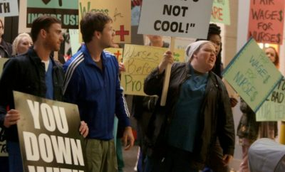"""THE MINDY PROJECT -- """"Nurses' Strike"""" Episode 502 -- Pictured: (l-r) Bryan Greenberg as Ben, Ike Barinholtz as Morgan Tookers, Fortune Feimster -- (Photo by: Jordin Althaus/Universal Television)"""
