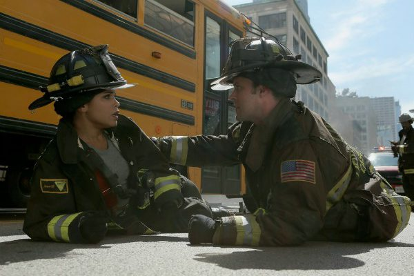 "CHICAGO FIRE -- ""The Hose or The Animal"" Episode 501 -- Pictured: (l-r) Monica Raymund as Gabriela Dawson, Jesse Spencer as Matthew Casey -- (Photo by: Parrish Lewis/NBC)"