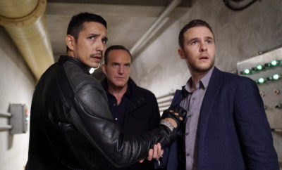 "MARVEL'S AGENTS OF S.H.I.E.L.D. - ""Deals With Our Devils"" - With the loss of half the team, the remaining members search for answers as the clock counts down for Ghost Rider, on ""Marvel's Agents of S.H.I.E.L.D.,"" TUESDAY, NOVEMBER 29 (10:00-11:00 p.m. EST), on the ABC Television Network. (ABC/Jennifer Clasen) GABRIEL LUNA, CLARK GREGG, IAIN DE CAESTECKER"
