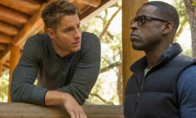"THIS IS US -- ""The Trip"" Episode 109 -- Pictured: (l-r) Justin Hartley as Kevin, Sterling K. Brown as Randall -- (Photo by: Ron Batzdorff/NBC)"
